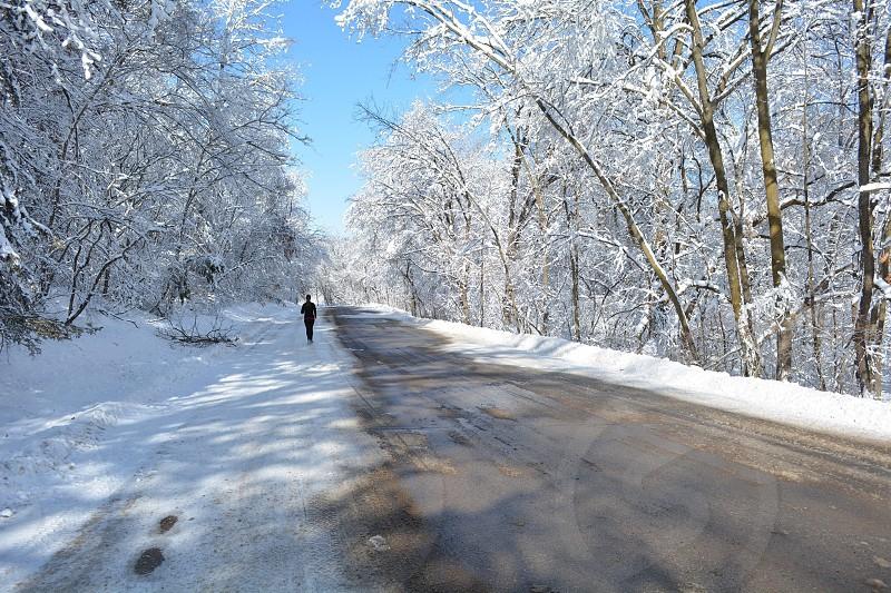 Winter running in Wisconsin photo
