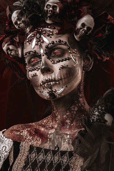 Santa Muerte Halloween Young Girl with creative scull Makeup photo