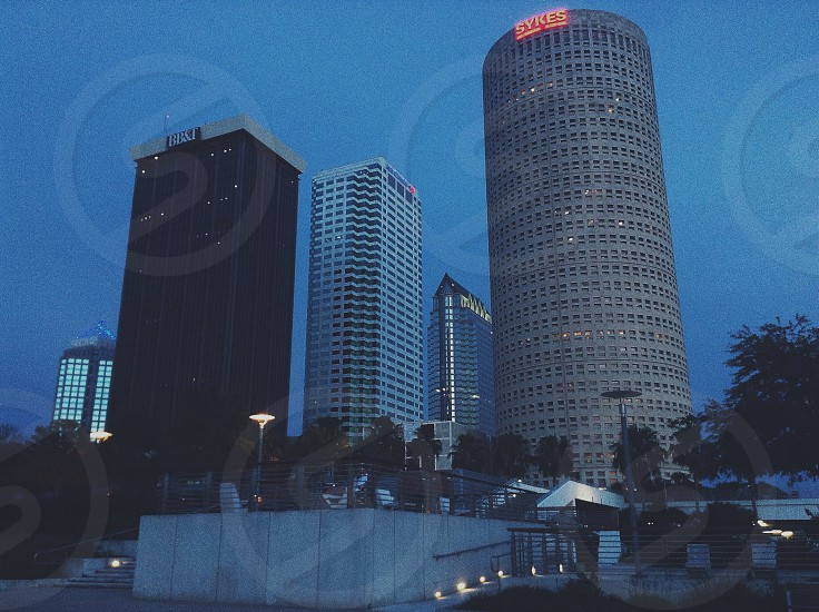 assorted-color high-rise buildings during nighttime photo