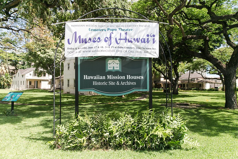 muses of hawai'i banner on top of hawaiian mission houses historic site and archives photo