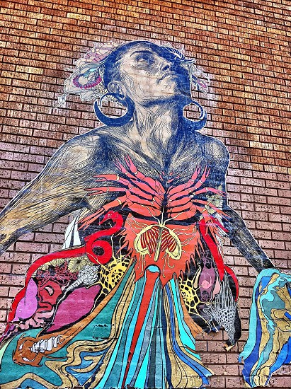 Street art wheat paste mural  photo