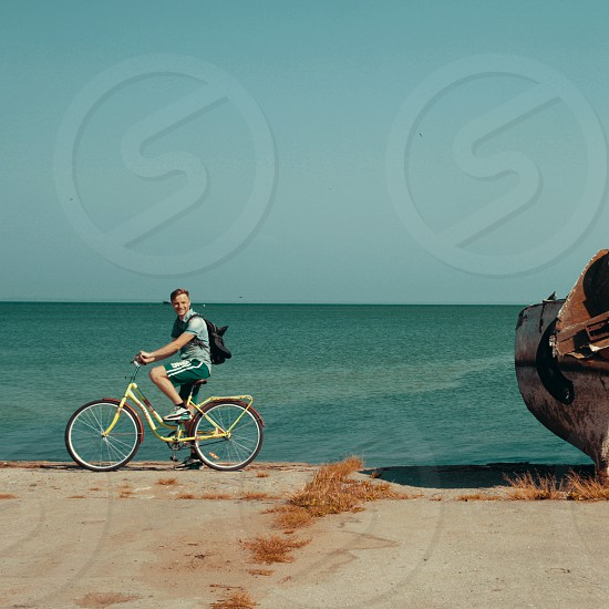 bicycle sea summer people man boat tourism freedom photo