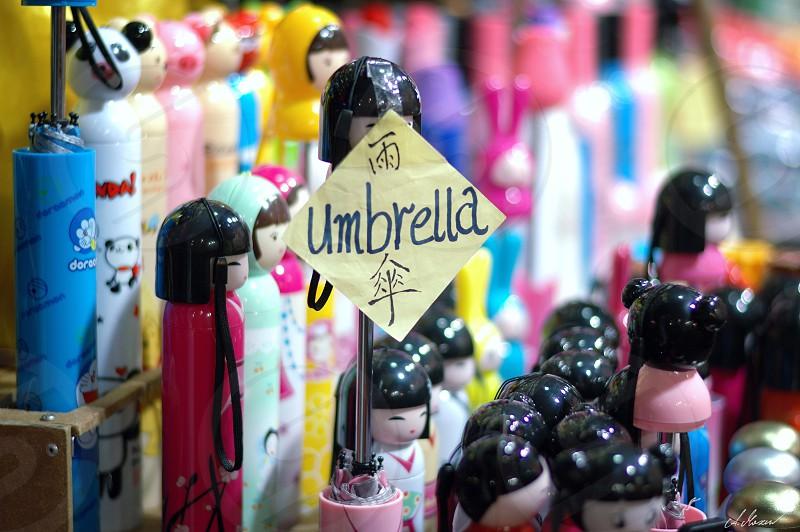 umbrella umbrellas souvenirs HongKong market photo