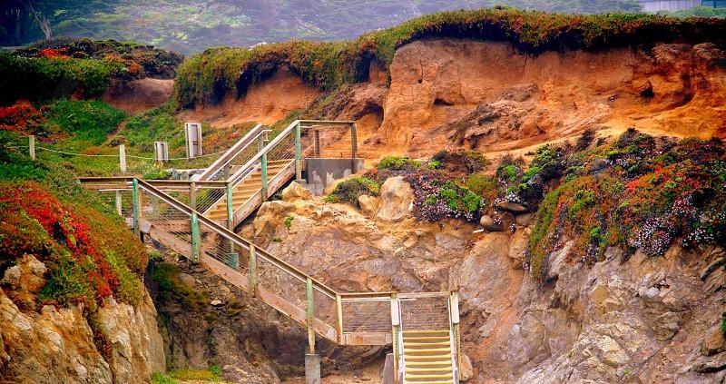 metal staircase on mountain photo
