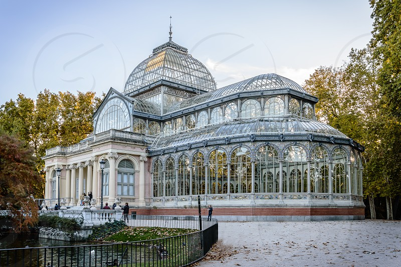 Madrid Crystal Palace park retiro sunset architecture travel greenhouse landmark historic photo