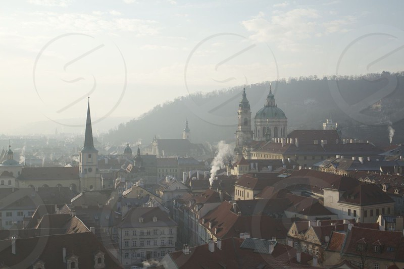 Prague on a foggy winter morning photo
