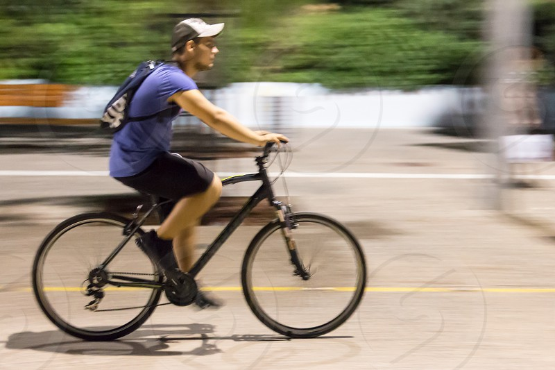 Young Man On Bike Ride In The City photo