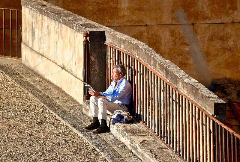 Italy Europe travel italia Firenze Florence peaceful quiet reading culture man photo