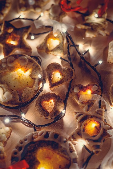 christmas gingerbread cookies lights baubles decoration close up festive holiday seasonal photo