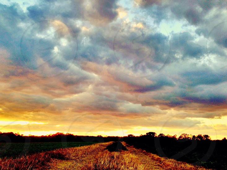 Burning clouds sunset photo