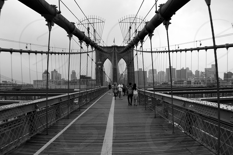 Brooklyn bridge suspension black and white New York photo