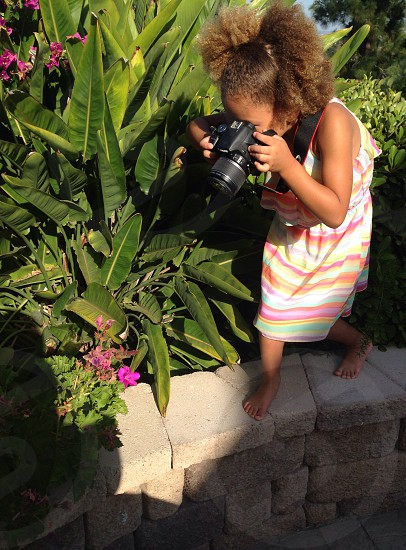 Young flower photographer photo