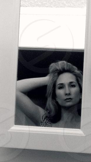 photo reflection black and white mirror contemplative  photo