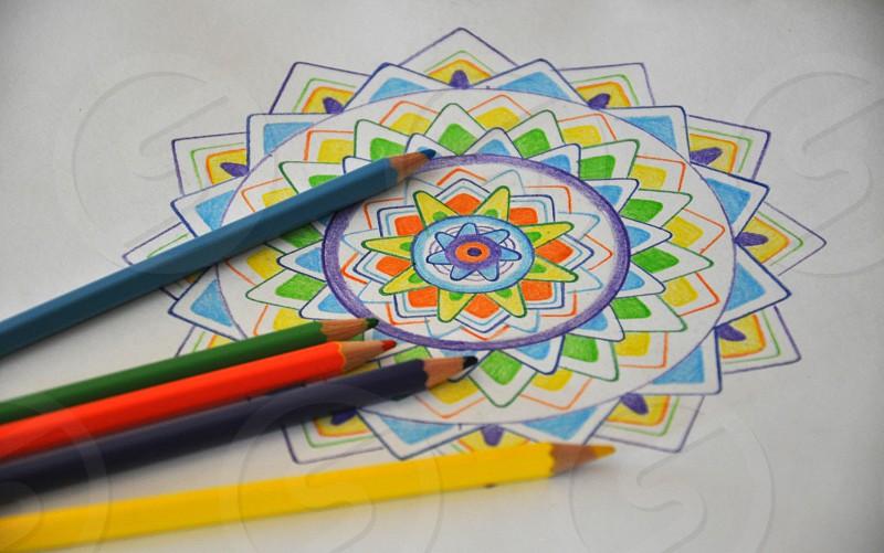 Mandala drawing by me pattern colored pence  photo