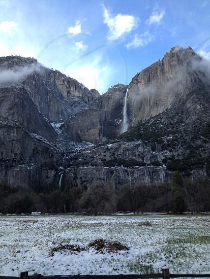 waterfalls and mountain ridge photo