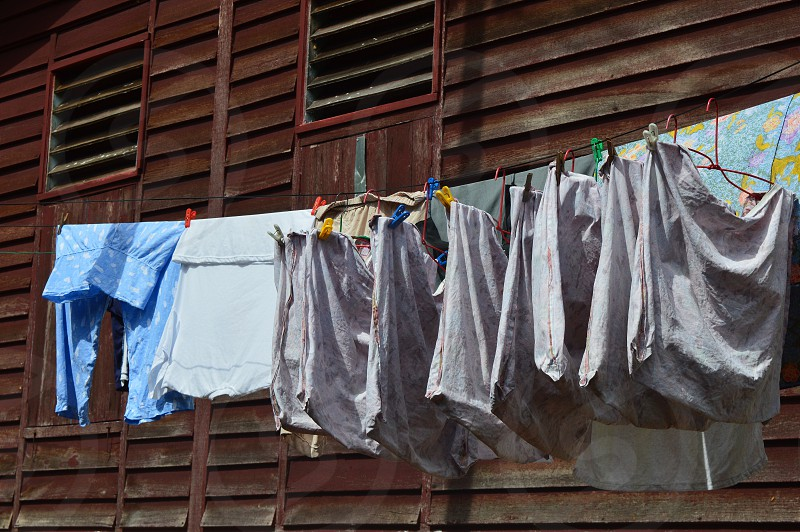 laundering clothes . photo