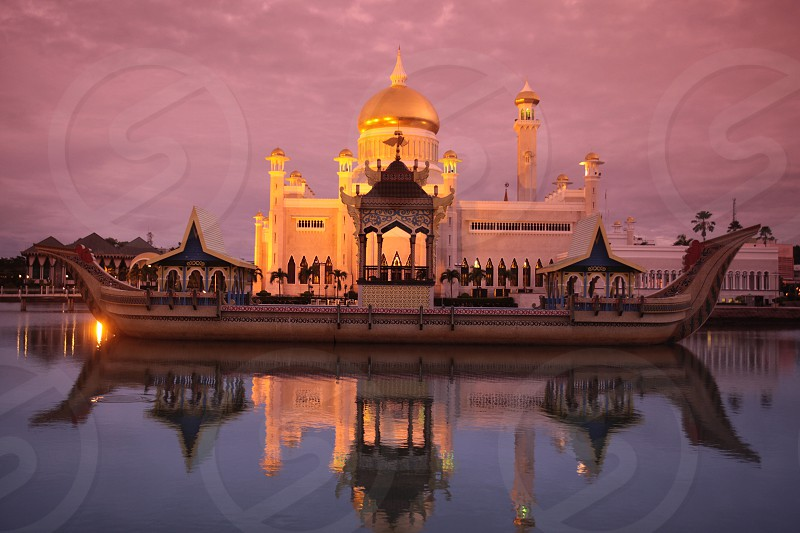 the Omar Ali Saifuddien Mosque in the city of Bandar seri Begawan in the country of Brunei Darussalam on Borneo in Southeastasia. photo