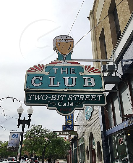 Head on down to The Club...club bar neon sign downtown Ogden Utah Main Street historic look up interesting  photo