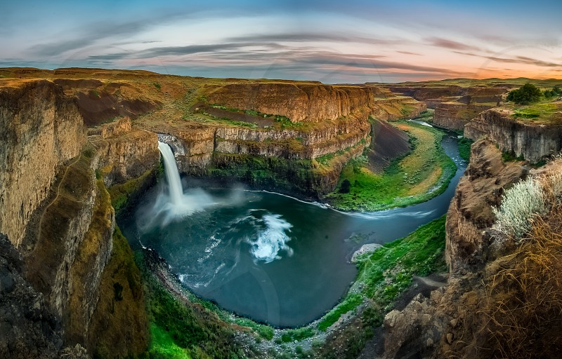 Palouse Falls Lush Green Smooth water From falls to River Rocky Mountain Golden Grasses Pathway to go down to the falls and enjoy a camping dramatic sunset & clouds - All we have at Pacific Northwest photo