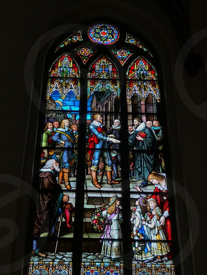 Indoor day colour vertical portrait Riga Latvia Europe European travel tourism tourist church art glass stained Glass colourful religion Christian Christianity holy history historic window  photo