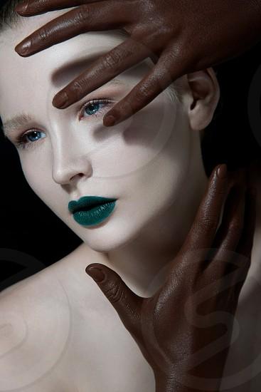 Beautiful beauty fashion girl lips hands magazine  photo