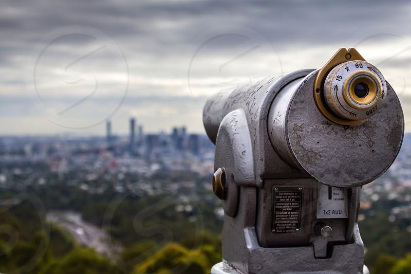 City view spy telescope magnify slot distance high  photo