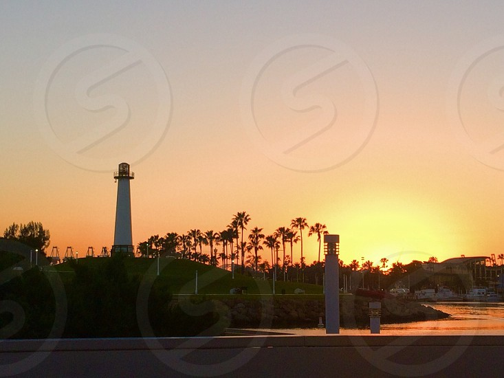 Long Beach sunset lighthouse sunset marina sunset California sunset  photo