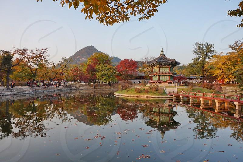 Fall colors at Gyeongbokgung in Seoul South Korea photo