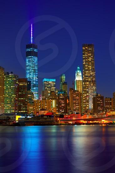 Manhattan sunset skyline New York NYC NY in USA photo