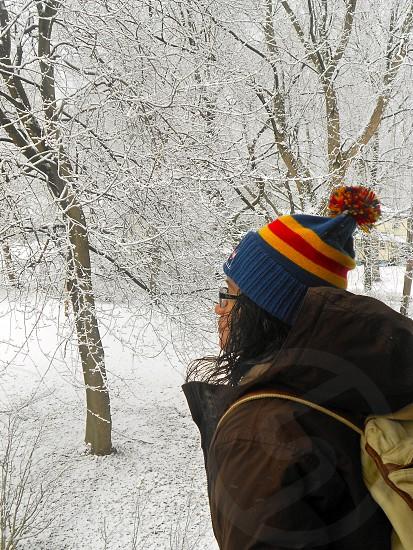 Winter. Beanie. Book-bag.  photo