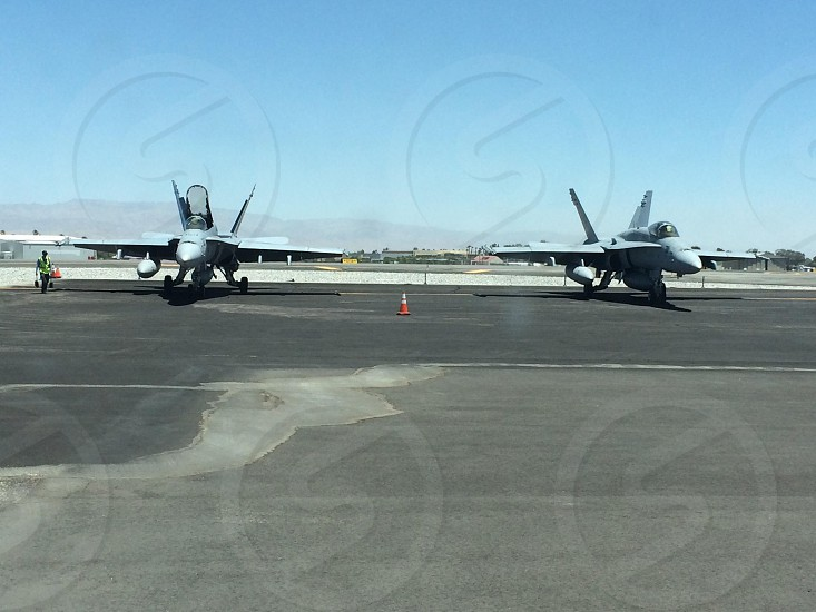 Two F-18's side by side front view photo