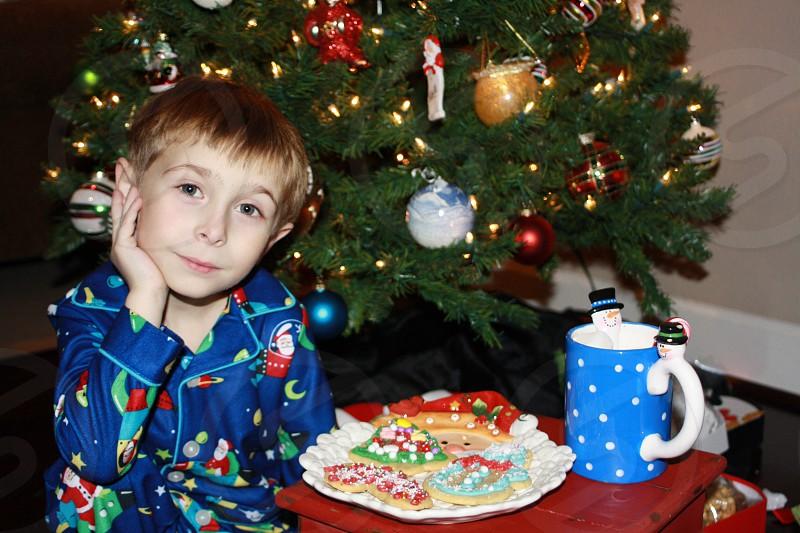 Christmas Christmas Eve Christmas tree holidays season children boy magic wonder Santa cookies milk waiting patiently photo
