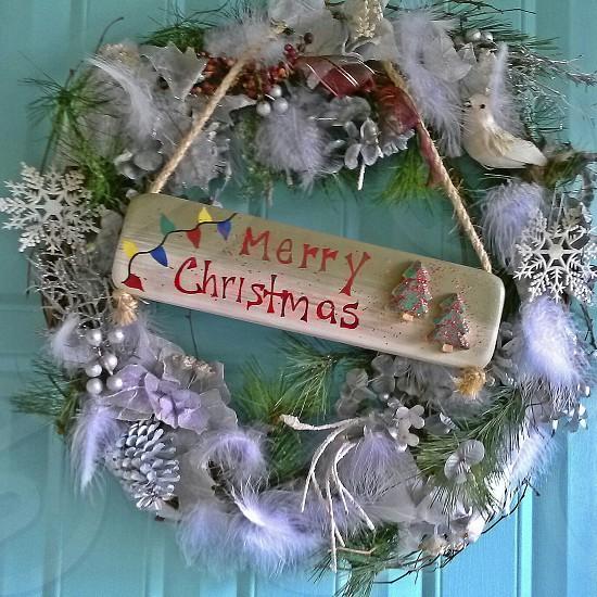 Merry Christmas Wreath on front door photo