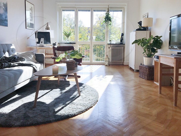 Photo by Susanne Alfredsson, - Living room, furnitures, apartment ,  windows, carpet, sofa, table, seat, windows, light, French balcony , wooden  floor