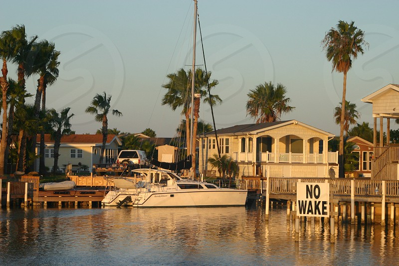 Houses dock boat and palm trees of a seaside community in the golden glow of a sunset. photo