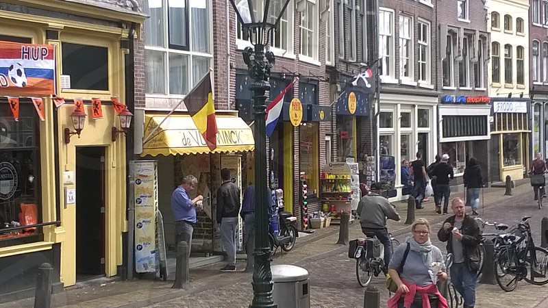 Netherlands Europe Alkmaar Bridge Houses Architecture Clouds Sky Travel stores eating people town photo