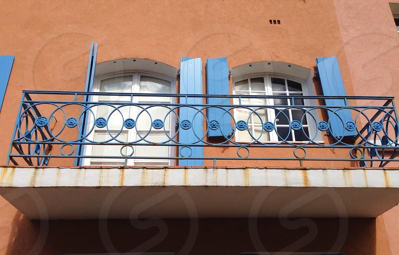 Balcony windows shutters blue open terrace photo