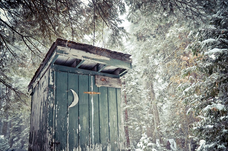 rustic cabin outhouse moon snow forest woods old photo