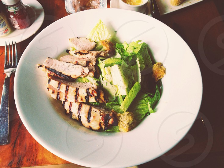 grilled chicken and salad photo