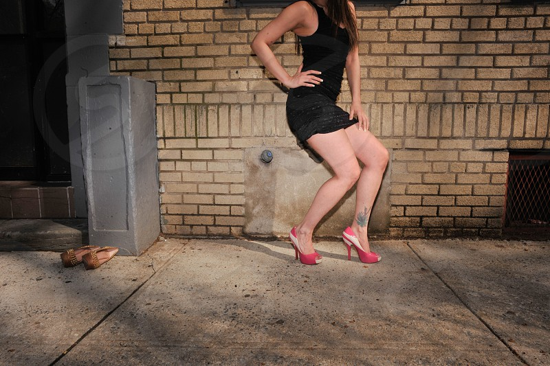 Woman legs moody dark sillouette spotlight photo
