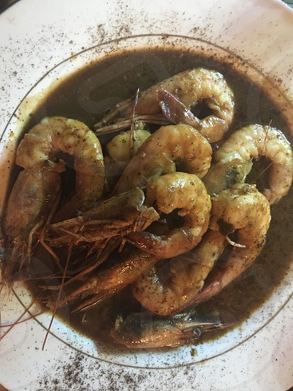 Food shrimp Louisiana bar b que New Orleans spicy roux Cajun creole bisque dish photo