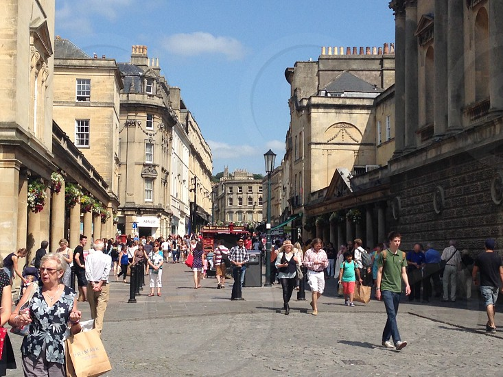 Tourist filled streets of Bath. photo