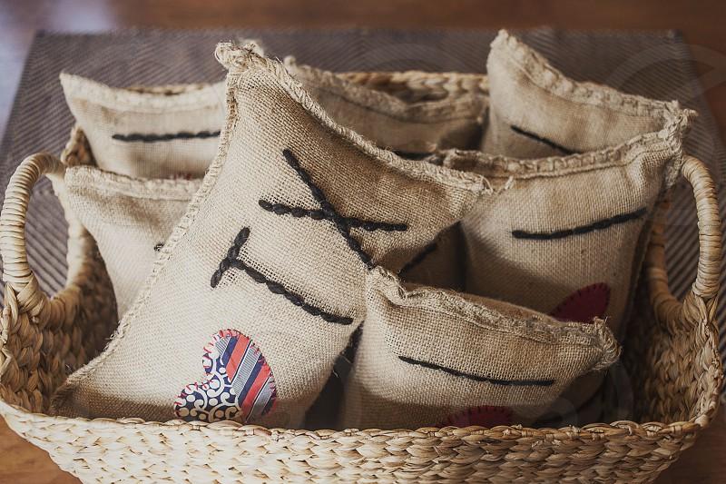 Burlap pillows. photo