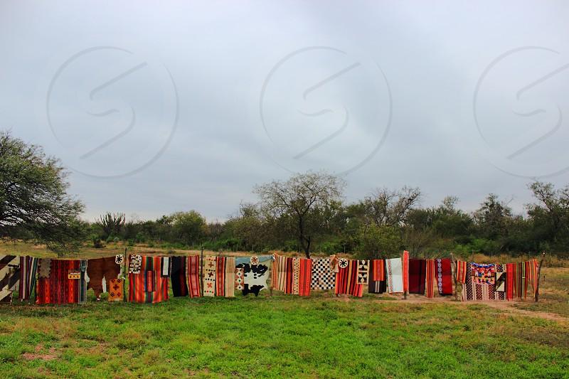 blankets woven from llama wool loom  photo