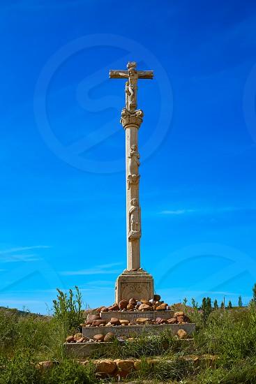 El burgo Ranero column cross by Saint James Way in Leon Spain photo