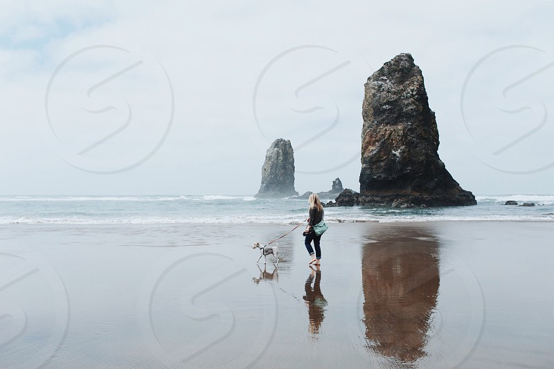 woman with brown long hair walking with her dog by the seashore photo