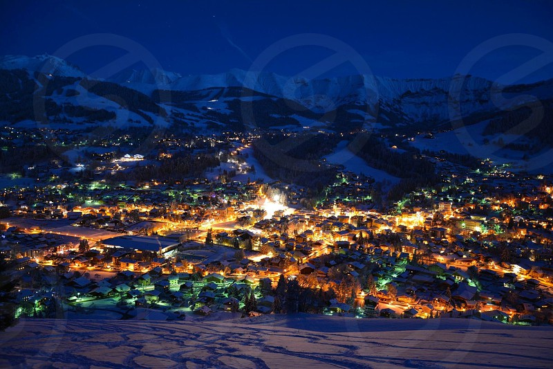 Megeve France Alps Winter Lights night snow Mountains landmark Landscape Beautiful  photo