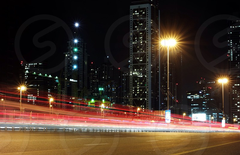 car lights on road in long exposure photo photo