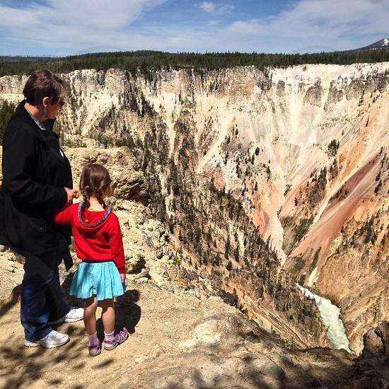 Grandma and Granddaughter in Yellowstone photo