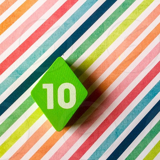 10 on colorful pinstripes photo